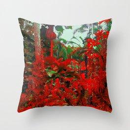 Singapore Bot. Garden 1 - RED Throw Pillow