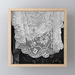 Vintage Romantic Lace Crochet Tablecloth Hanging Laundry Framed Mini Art Print