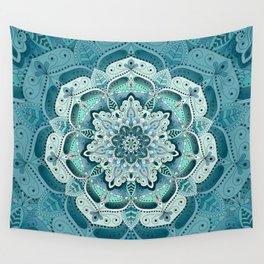Winter blue floral mandala Wall Tapestry