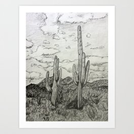 Saguaro Cactus Pencil Drawing Art Print