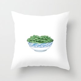Boiled Green Soybeans | 盐水毛豆 Throw Pillow