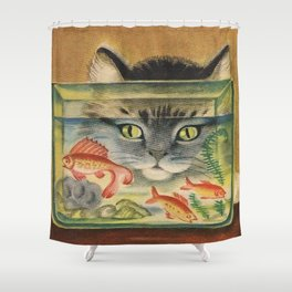 Cat Looking at Goldfish Vintage Art Shower Curtain