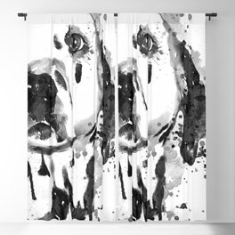 Black And White Half Faced Dalmatian Dog Blackout Curtain