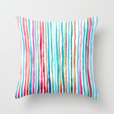 Watercolor Stripes in Pink, Coral, Blue & Aqua Throw Pillow