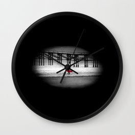 Red Surfboard Wall Clock