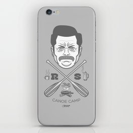 Ron Swanson Canoe Camp (clean gray variant) iPhone Skin