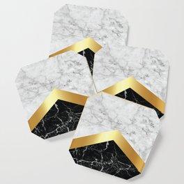 Arrows - White Marble, Gold & Black Granite #147 Coaster