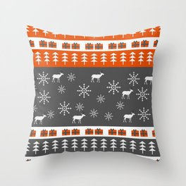 Deer and snowflakes Throw Pillow