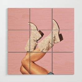 These Boots - Glitter Pink Wood Wall Art