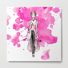 Fashion Illustration - Alexander McQueen Fall 2020 Ready To Wear Metal Print