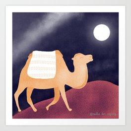 Happy Camel Night Desert Under Bright Full Moon Art Print