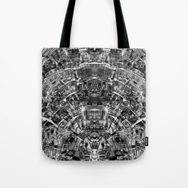 Mirrored Black and White Cityplan Tote Bag