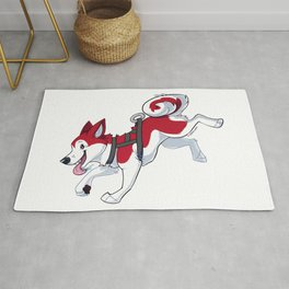 Red Husky Running Rug
