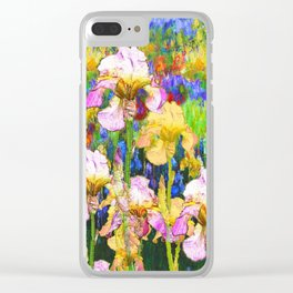 BLUE YELLOW IRIS GARDEN REFLECTION Clear iPhone Case
