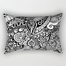 DOODLE ABSTRACT BLACK AND WHITE Rectangular Pillow