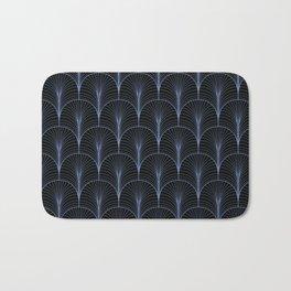 Art Deco Midnight Pattern Light Blue Black Bath Mat