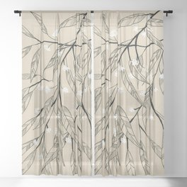 Line Drawing Leaves #3 Sheer Curtain
