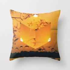 Hexagon Sunset Throw Pillow