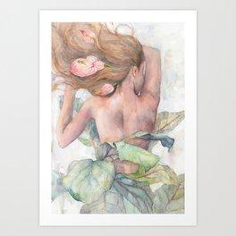 Ficus Lyrata Lady, Figurative Art Art Print