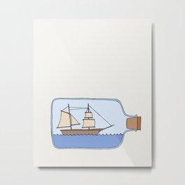 Ship in a Bottle Metal Print