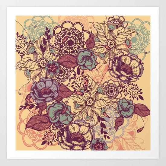 Vintage yellow flowers Art Print