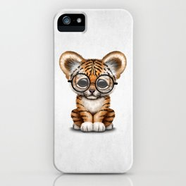 Cute Baby Tiger Cub Wearing Eye Glasses on White iPhone Case