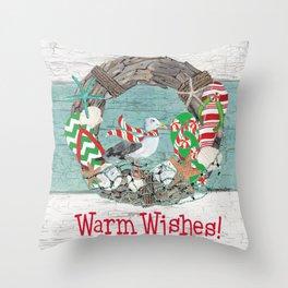 Coastal Christmas Throw Pillow
