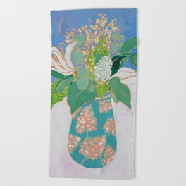 Lily and Eucalyptus Bouquet in Blue and Peach Floral Vase Beach Towel