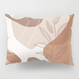 Abstract - Terracotta, Tan and Beige Shapes, Lines and Leaves Pillow Sham