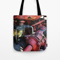 pocket fuel Tote Bags featuring Fuel Sediment Bowl by Christopher Richards