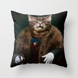 Arrogant sophisticated dressed cat boss looking with contempt Throw Pillow