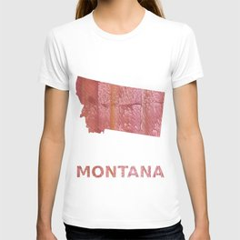 Montana map outline Crimson red nebulous wash drawing T-shirt