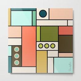 Blocked Modern Cubist Design Metal Print