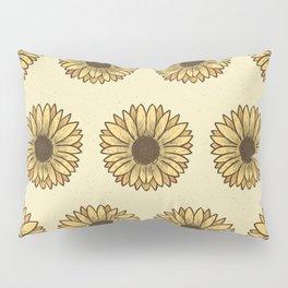 Retro Pop Sunflowers x Pastel Yellow Pillow Sham