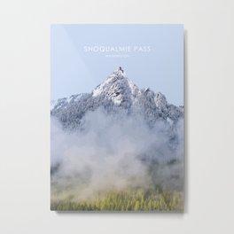 Snoqualmie Pass, Washington Travel Illustration Metal Print