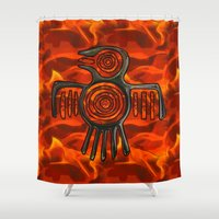 native american Shower Curtains featuring Flight 2 Native American by BohemianBound