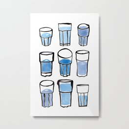 Blue Glasses Metal Print