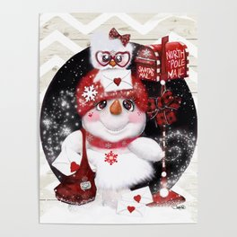 Santa Letter Delivery Snowman by Sheena Pike Poster