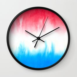Red White and Blue Flowing Watercolors Wall Clock