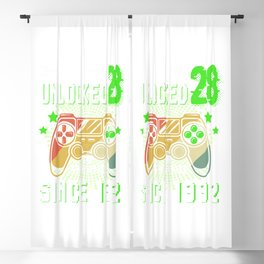 Level 28 Unlocked Awesome 1992 Video Game 28th Birthday Blackout Curtain