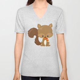 Cute Squirrel With Fluffy Tail And A Scarf Unisex V-Neck
