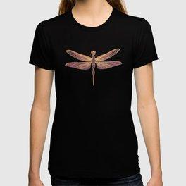 Art Nouveau Dragonfly In Purple T-shirt