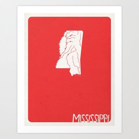 Mississippi Minimalist Vintage Map Art Print
