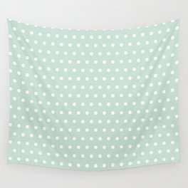 Minty white dots Wall Tapestry