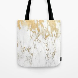 White Gold Marble Tote Bag