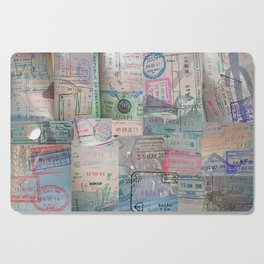 A Celebration of Passport Stamps Cutting Board
