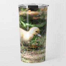 Baby Duckling strolling on a lawn Travel Mug