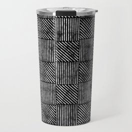 Black and White Distressed Diagonal Lines Pattern Vintage Unique Artistic Style Design Travel Mug