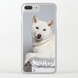 Cream Shiba Inu Dog Clear iPhone Case
