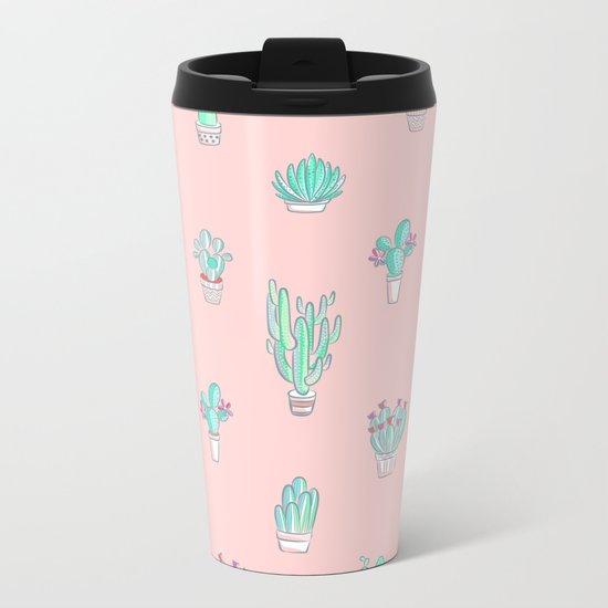 Little succulent pattern on pastel pink Metal Travel Mug